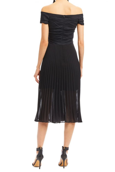 Off-Shoulder Pleated Dress in Black