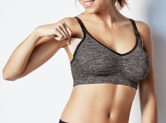Body Silk Seamless Yoga Nursing Bra in Charcoal Heather