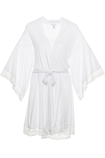 COLETTE Kimono Robe with Lace in White