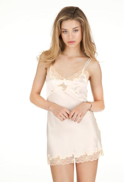 ALL YEAR LONG Silk Charmeuse Mini Slip in Vintage Ivory
