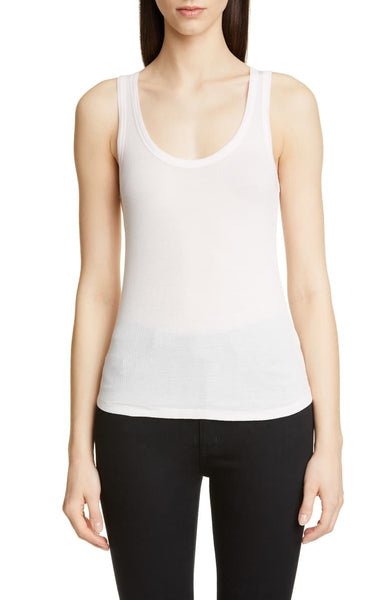 DELUXE COTTON Scoop Tank in White