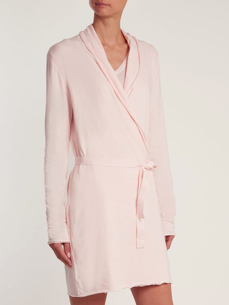 Double Layer Cotton Wrap Robe in Pearl Pink