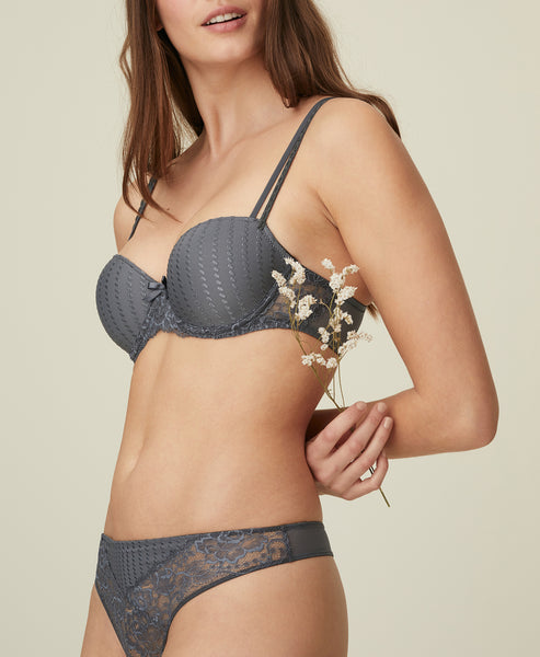 MERYL Balconette Bra in Satin Grey
