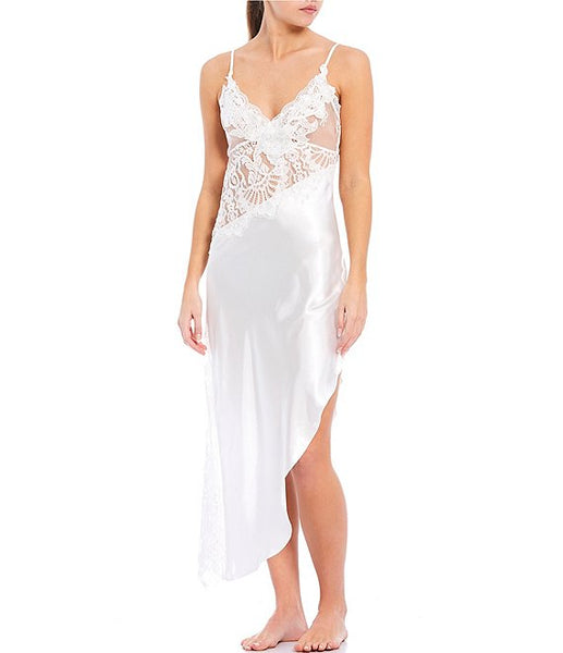 ELENA Satin & Lace Long Gown in Ivory