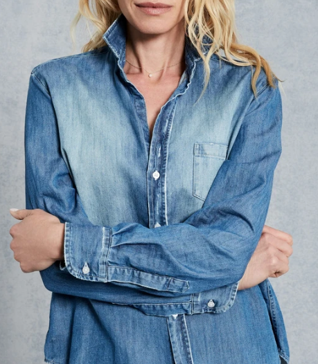 EILEEN Button Down in Distressed Vintage Wash