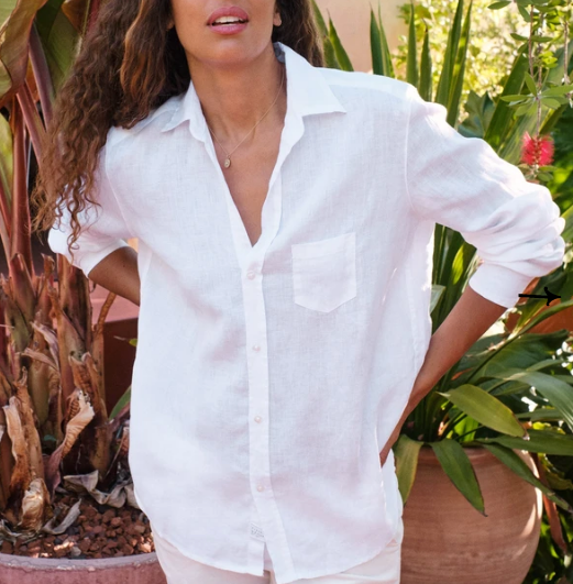 EILEEN Linen Button Down in White