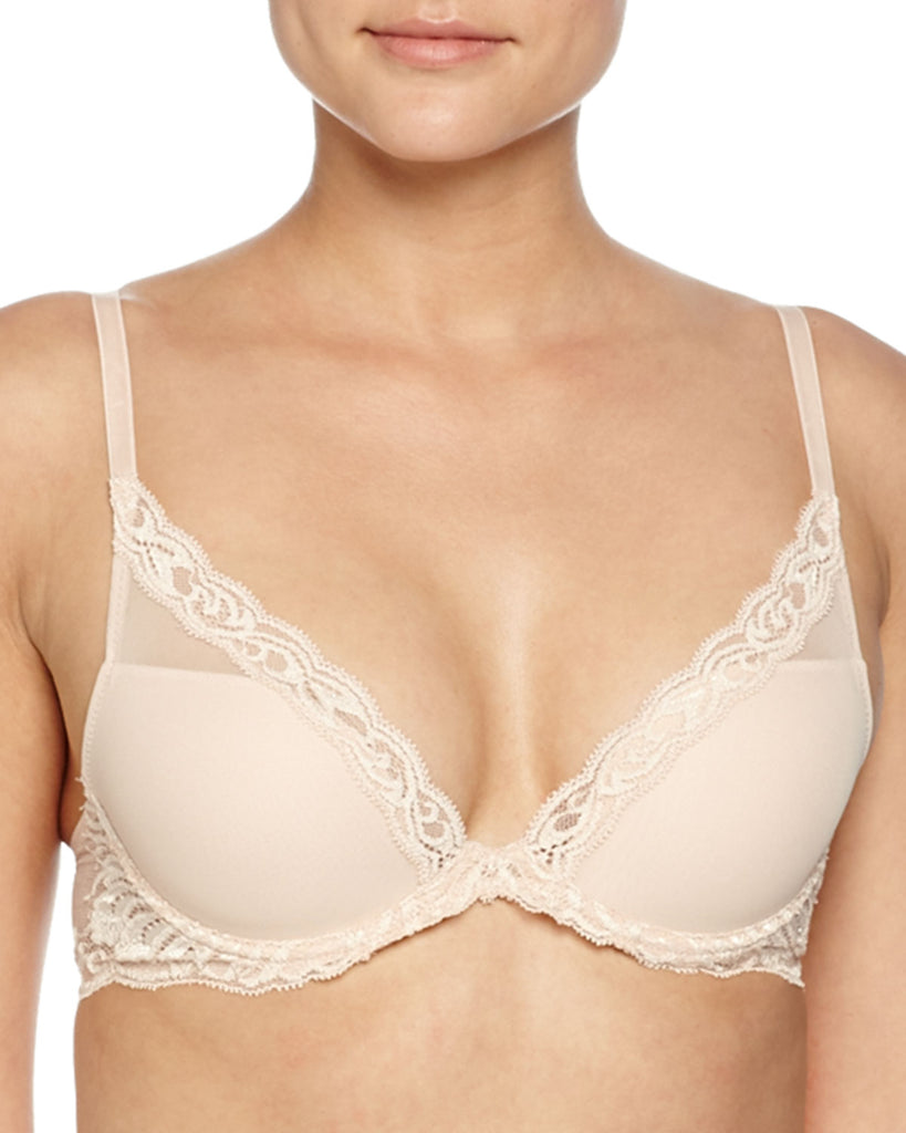 FEATHERS Plunge Bra in Cameo Rose