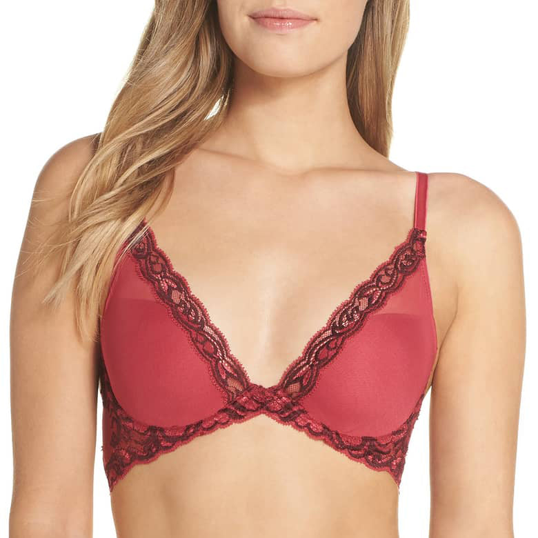 FEATHERS Plunge Bra in Ruby/Fig