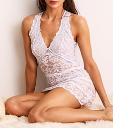 FORTUNA Lace Racerback Chemise in White