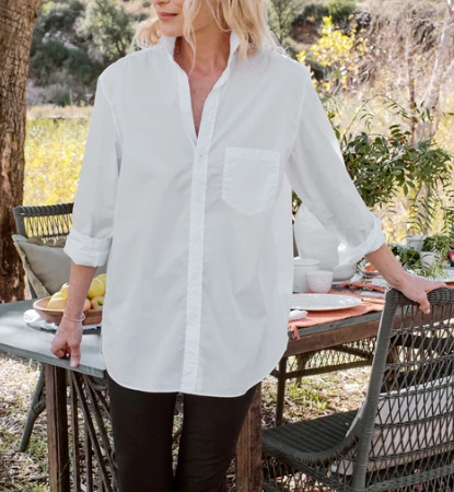 JOEDY Tunic Length Poplin Button Up in White
