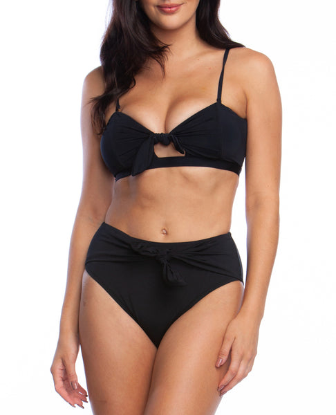 GETAWAY SOLIDS Keyhole Bandeau & High Waist 2-Piece in Black