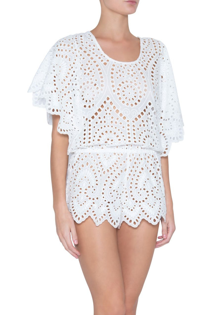 GIORGIA Liberty Crochet Romper in White