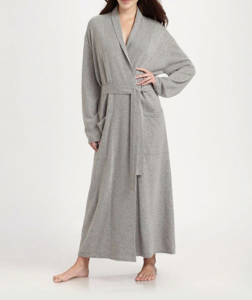 Cashmere Long Duster Robe in Light Heather Grey