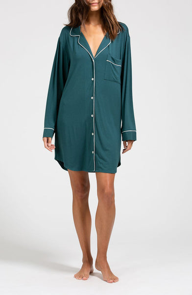 GISELE Sleepshirt in Evergreen/Ivory