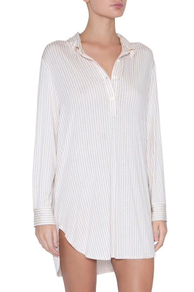 SLEEPY STRIPES Boyfriend Sleepshirt in Shell/Solstice Grey