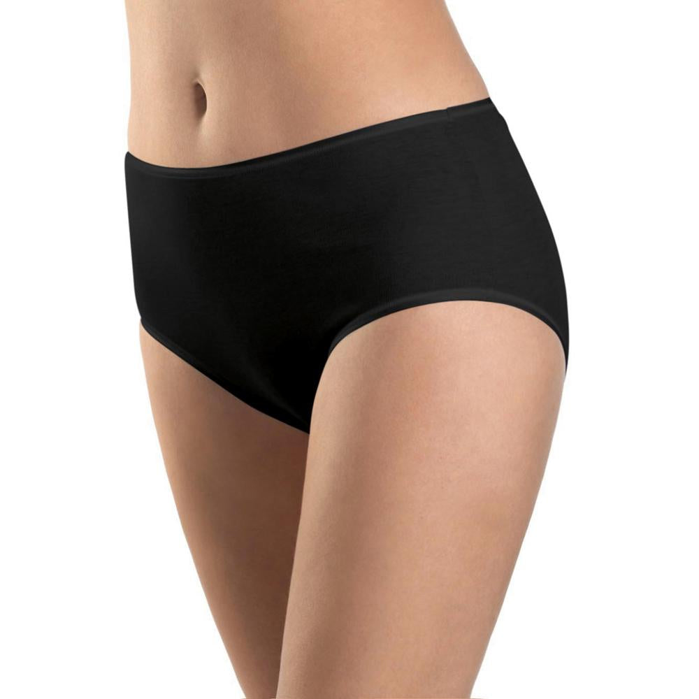 Cotton Seamless Full Brief in Black