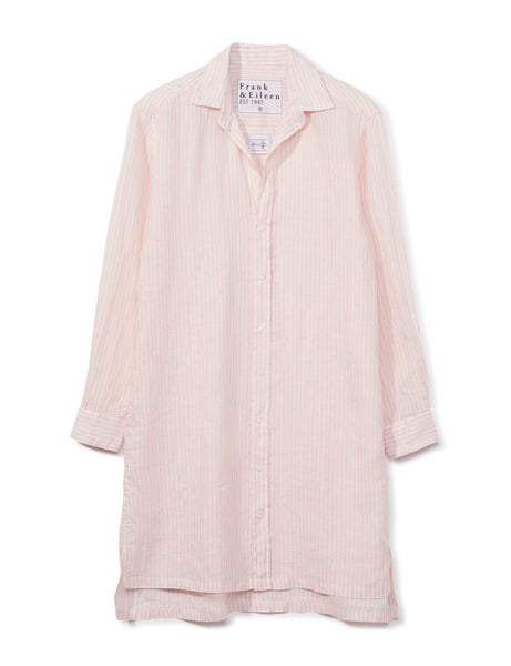 HUNTER Italian Linen Shirt Dress in Pink Stripe