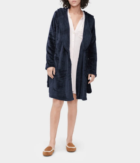 MIRANDA Hooded Fleece Robe in Indigo
