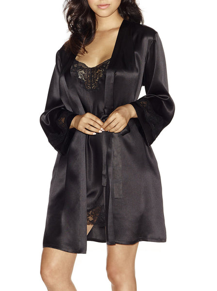 MORGAN Short Robe in Black