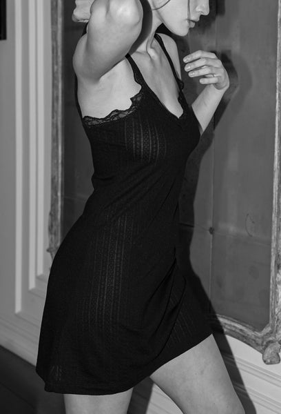 KIKI Pointelle Chemise in Black