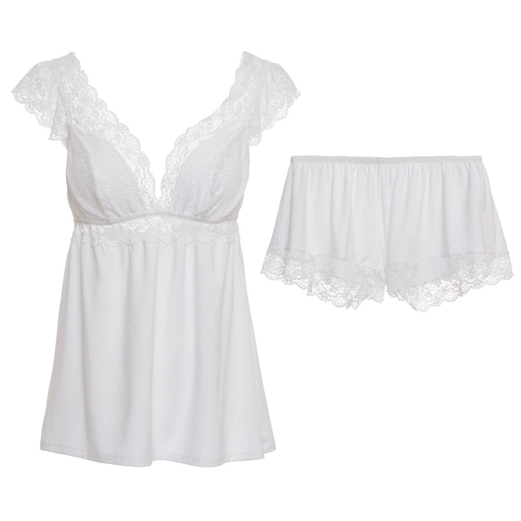 KISS THE BRIDE Cami & Short Set in White