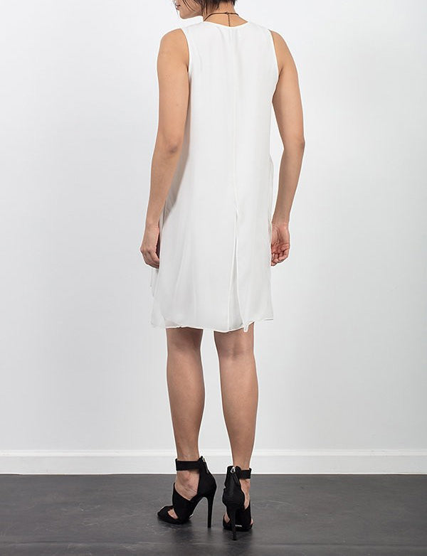 Layered Chiffon Dress in Eggshell