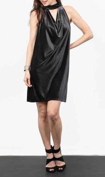 Velvet Tie-Back Choker Dress