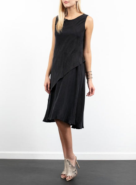 Double Layer Sleeveless Dress in Black
