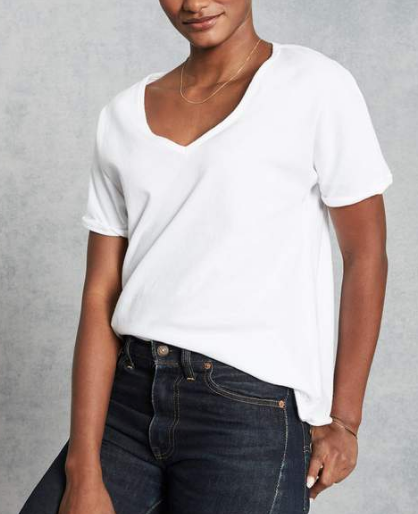 LAB225EJ Deep V-Neck Tee in White