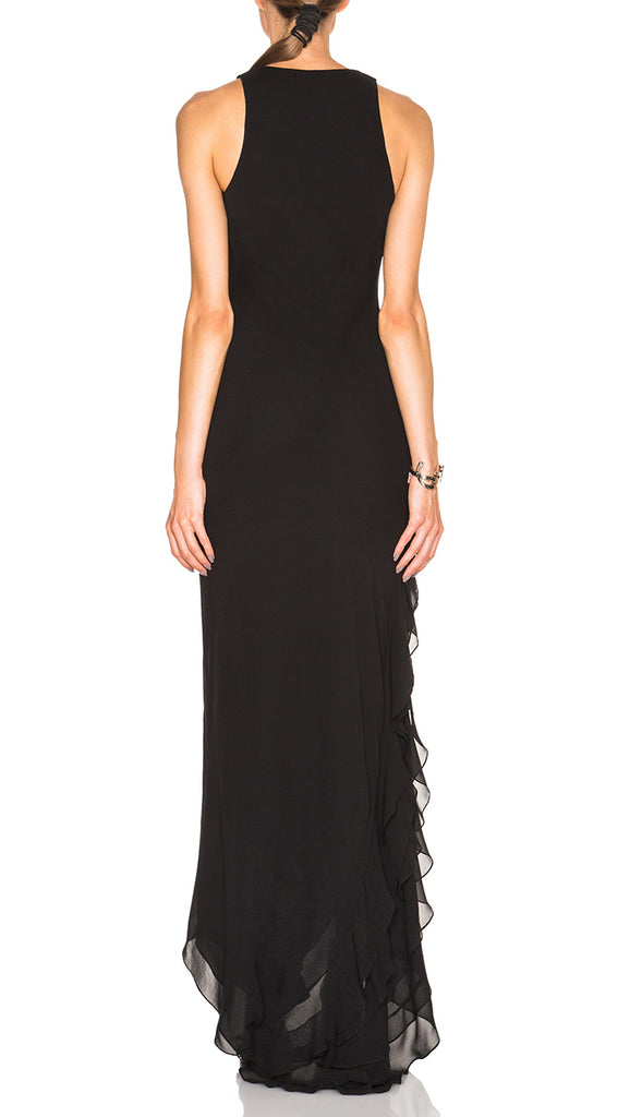 Layered Chiffon Maxi Dress in Black