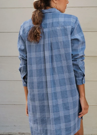 HUNTER Italian Linen Shirt Dress in Slate Blue Plaid