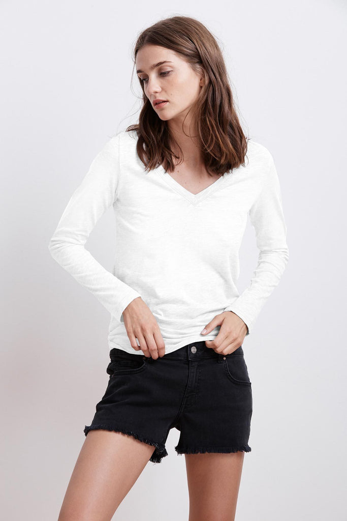 BLAIRE V-Neck Cotton Slub L/S Tee in White