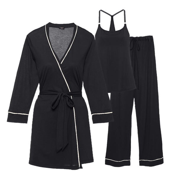 BELLA Maternity 3-Piece Set in Black/Ivory