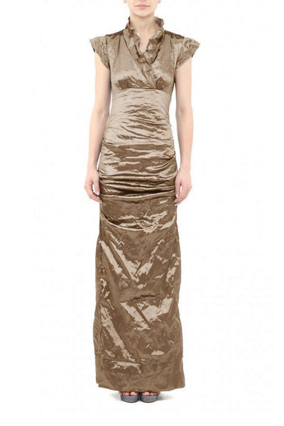 Techno Metal High Collar Gown in Mocha