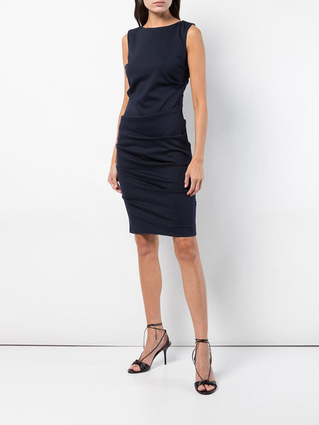 LAUREN Ponte Tuck Dress in Navy