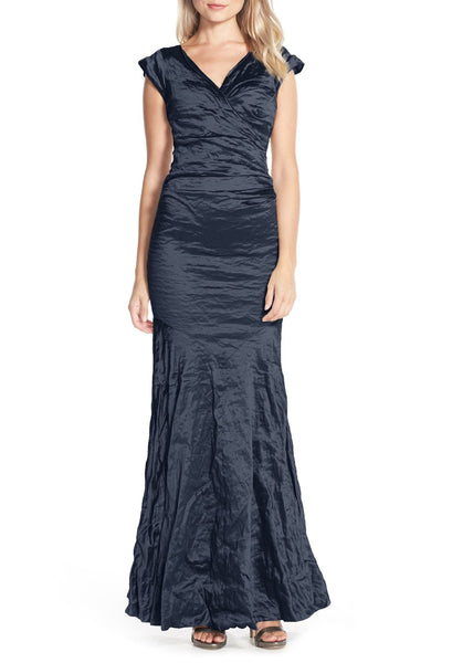 Techno Metal Surplice Tuck Gown in Navy