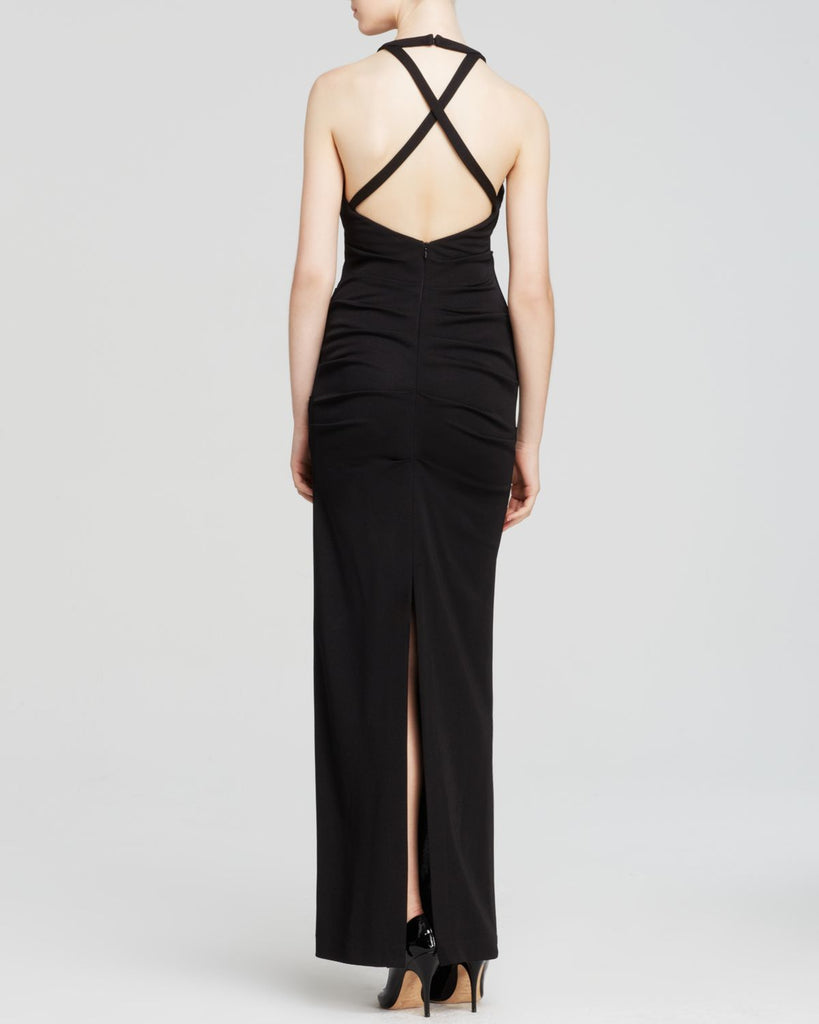 High Neck Open Back Dress in Black