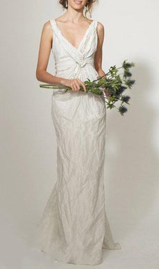 Twist Front Embellished Wedding Gown in Ivory