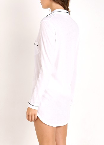 Organic Cotton Nightshirt in White/Black