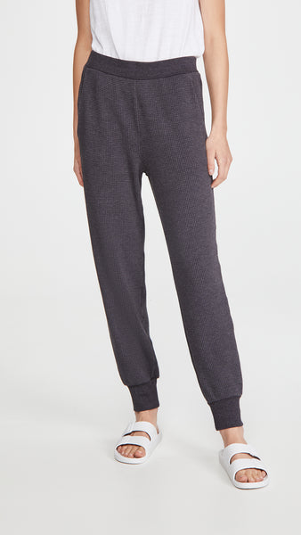 GILLY Waffle Sweatpants in Onyx