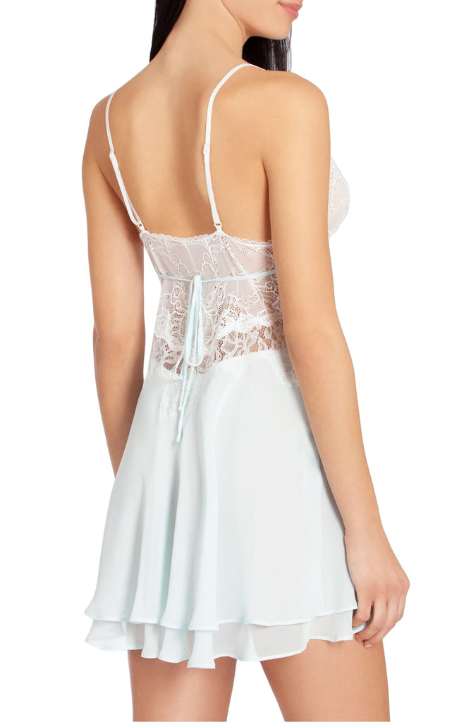 STEPHANIE Lace & Chiffon Chemise in Pale Aqua