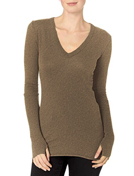Cotton/Cashmere Cuffed V-Neck in Pebble