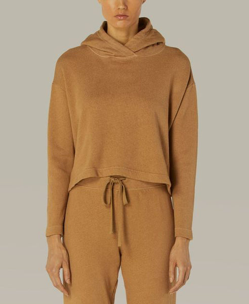 French Terry Cropped Hoodie in Pecan