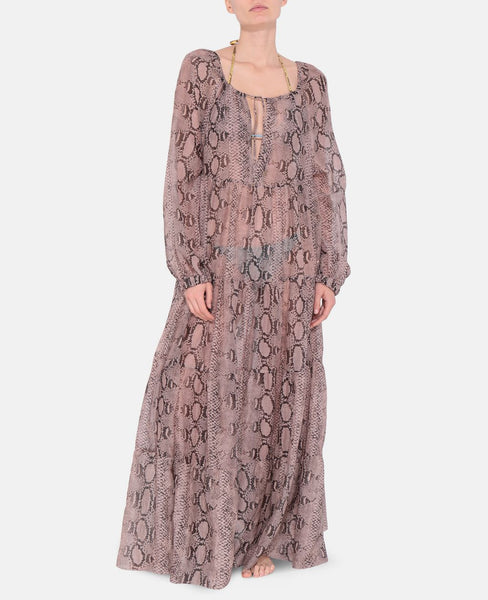 Timeless Snake Print Maxi Dress in Cream