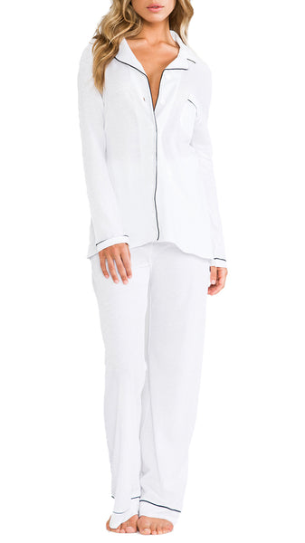 Organic Cotton PJ Set in White/Black