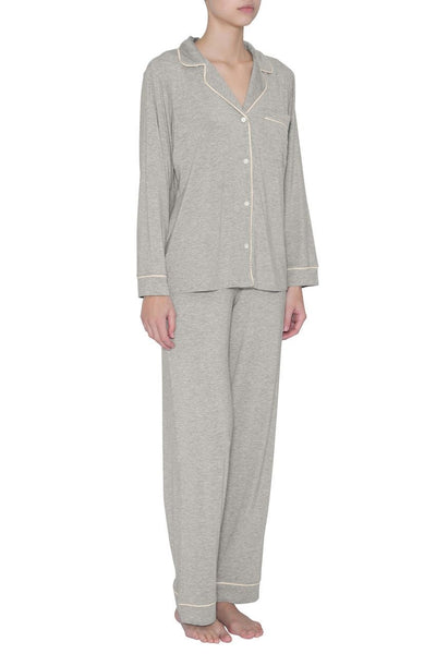 GISELE Shirt & Pant PJ Set in Heather Grey/Sorbet Pink