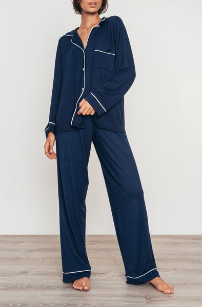 GISELE Long PJ Set in Navy/Ivory