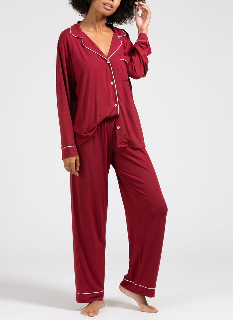 GISELE Long PJ Set in Sangria/Ivory