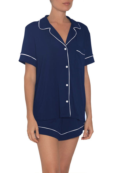 GISELE Relaxed Short PJ Set in Navy/Ivory