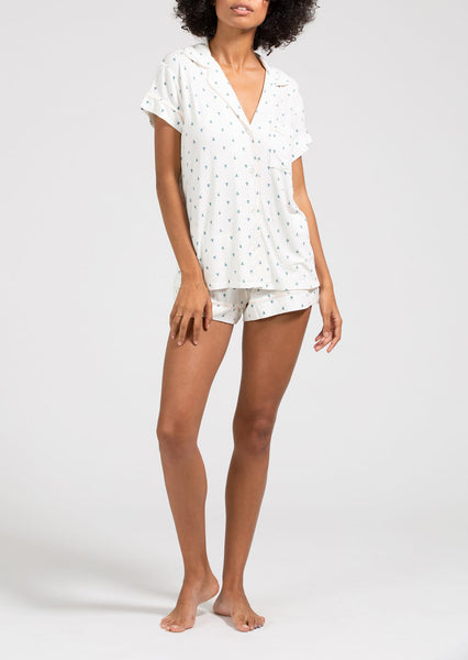 GISELE Printed Short PJ Set in Pine/Bellini